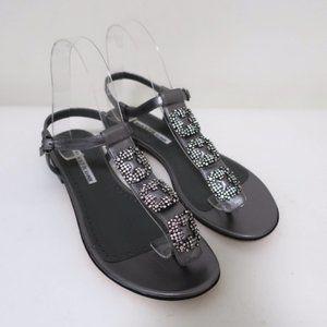 Manolo Blahnik Ottolina Crystal T-Strap Sandals